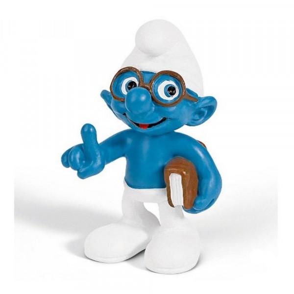 Mini Figure: Brainy Smurf holding a book