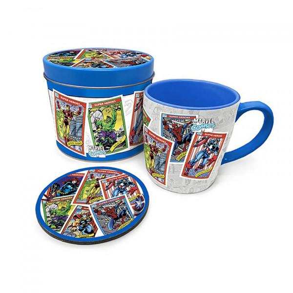 Mug & Coaster In Tin: Marvel Retro