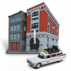Dioramas Ghostbusters: Firehouse & 1959 Cadillac Ecto-1 Diecast Model 1/64